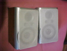 FUNKY woodgrain computer stereo speaker shelf style silver too nice condition