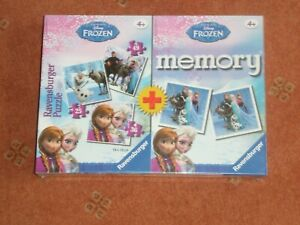 DISNEY FROZEN MEMORY GAME AND 3 JIGSAWS (25,36,49 P) BY RAVENSBURGER NEW/SEALED