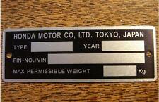 Honda SS50 Monkey Dax Chaly Gorilla CD50 S50 C70 C90 CD90 S90 XL100 type plate