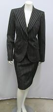 CHRISTIAN DIOR BOUTIQUE DRESS & JACKET PINSTRIPES BLACK OFF WHITE I 46 10 6/8