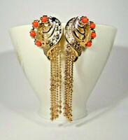 Liberty stile corallo frange orecchini pendenti dorati 14 KT gioiello italiano