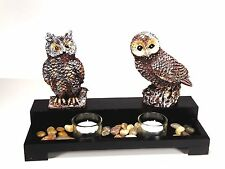 Candlestick for 2 Candles With Owl Figures Ornament Home Decor Christmas Gift