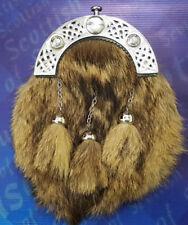 Scottish Highland Full Dress Kilt Sporran Formal Fox Fur Celtic Cantel Antique