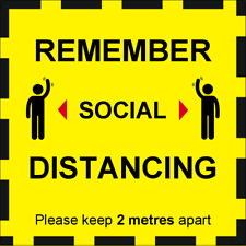 2 x Factory Business Office Safety Social Distancing Vinyl Sticker Signs 2 Metre