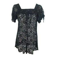 Ann Taylor Loft Petites Womens Top SP Black Lace Square Neck Gathered Sleeves (