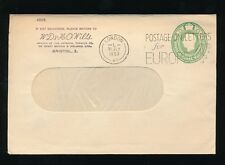 GB KG6 STATIONERY 1953 STO TOBACCO WD +HO WILLS BRISTOL WINDOW ENV.SLOGAN EUROPE