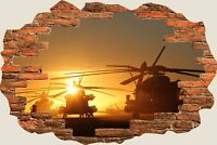 3D Hole in Wall Army Fighter Helicopters View Wall Stickers Decal Mural 913