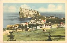 Perce Rock PQ from foot of Mt Ste Anne PBI Quebec Canada Postcard pm