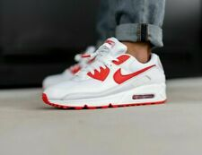 Nike Air Max 90 White Hyper Red Black CT1028-101 Running Shoes Men's NEW