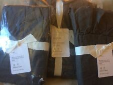 POTTERY BARN Belgian Flax Linen Fringe Ruffle FULL/QUEEN Duvet & Shams NEW-Ebony