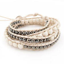 "White Turquoise round 6mm/hematite beaded leather wrap bracelet (4 rounds 27"")"