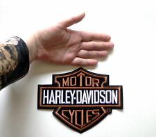 "HARLEY-DAVIDSON Classic Orange Bar & Shield Patch LARGE Size Logo 7.3""x 5.6"""