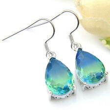 Handmade Jewelry Teardrop Bi Color Tourmaline Gems Silver Dangle Hook Earrings
