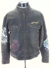 ED HARDY Motorcycle Leather Jacket Rugged Brown Biker Eagle Skulls Tiger Men's M