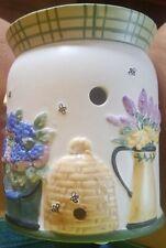 Yankee Candle Tealight Tart Wax Warmer Birdhouse bee hive flowers purple yellow