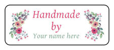 """30 Personalized """"handmade"""" stickers, Labels, tags, envelope seals with flowers"""