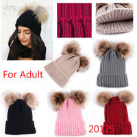 Women's Winter Beanie Outdoor Chunky Knit with Double Fur Pom Pom Cute Hat NEW