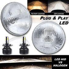 """7"""" Stock Glass Lens/Metal 6v Headlight LED 6K 26/40w H4 Light Bulb Headlamp Pair"""