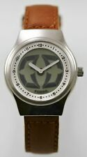 Fossil Big Tic Watch Men Stainless Silver Water Resist Brown Leather Gray Quartz
