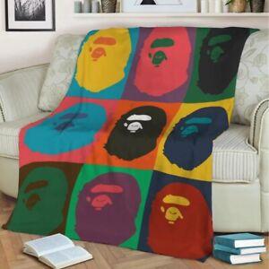 Bape Style Hypebeast Multi Fleece Warm Throw Over Blanket 150cm X 200cm XL
