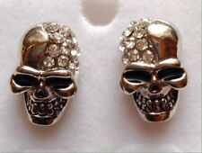 "SMALL SUGAR SKULL💀STUD EARRINGS - Silver-tone W/Crystals  -- ""Day of the Dead"""