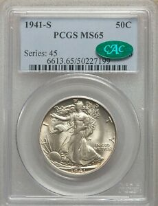 1941-S Walking Liberty Half PCGS MS-65 CAC - WHITE and Original - sks