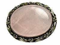 Vintage Brooch Heavy Ornate Silver Rose Pink Quartz Cabochon GIFT BOXED