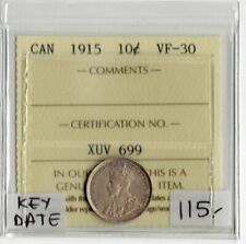 Canada Key Date 1915 10 Cents ICCS Certified VF-30 XUV 699