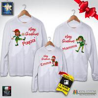 T-shirt magliette famiglia NATALE ELFI personalizzate IDEA REGALO FESTE