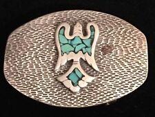 VTG Handmade STERLING SILVER & TURQUOISE Native American Peyote Bird BELT BUCKLE