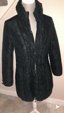 Black Jacket Rever Ladies Long Coat Padded Polyester Zip Up Woman's Size UK 10