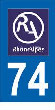 Département 74 MOTO 1 autocollant style plaque moto 3 x 6 cm RHONE ALPES LOGO RA