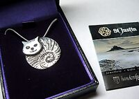 NEW ST JUSTIN JEWELLERY MADE IN CORNWALL PEWTER FAT CAT PENDANT NECKLACE GIFT