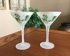 Set of Two Vintage Hawaiian Theme Frosted Martini Glasses