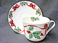 *SALE*  CHRISTMAS RIBBON BREAKFAST CUP SAUCER, MADE IN ENGLAND BY ROY KIRKHAM