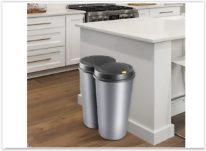Kitchen Double Bin RecyclingDustbin Waste Can Garbage Rubbish Indoor Silver
