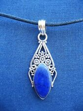 Handmade Solid 925 Sterling Silver & Lapis Lazuli Pendant Necklace 925012