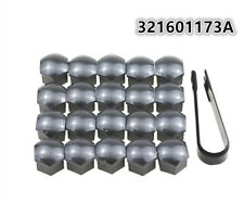 20pcs Gray Wheel Lug Nut Center Cover Caps + Removal Tool for VW Audi Skoda Seat