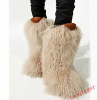 Women real fur mid-calf ankle snow boots Flat Fashion Runway warm non-slip shoes