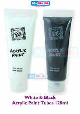 BLACK AND WHITE 120ML ACRYLIC COLOUR TUBES PAINT ARTIST ART & CRAFT PAINT SET