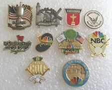 Lot of 10 Golf Fan Souvenir Collector Pins - US Open Ryder Cup NBC Press