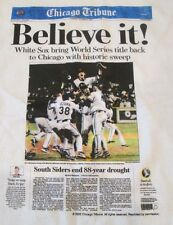 2005 White Sox World Series Believe It Tribune Headlines T-Shirts LG October 27