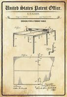 Ee.uu. Patent Tenis de Mesa Tennis Table 1935 Letrero Metal Cartel Lata 20 X