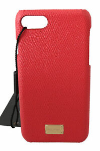 DOLCE & GABBANA Phone Case Cover Red 100% Leather Gold DG Logo iPhone 7