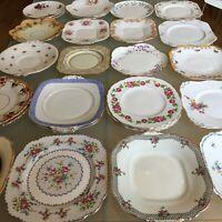 Vintage Bone China Cake Plate Bread & Butter Plate Floral Rose 22cm YOU CHOOSE