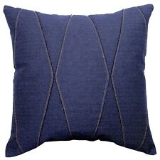 Navy blue applique throw pillow cover Gold Accent Textured Cotton Toss Cushion