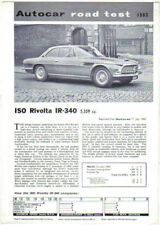 Iso Rivolta IR 340  Period Road Test Reprinted from Autocar 1964