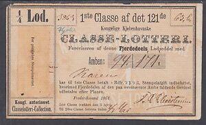 Denmark, Nelson 2, 1868 ¼ lod First Class Lottery Ticket