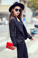 ● Damen Punk Nieten Bikerjacke Lederjacke Jacke PU Leather Biker Jacket Schwarz●