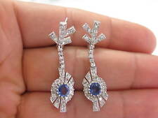 Fine Gem Sapphire Diamond White Gold Milgrain Drop Earrings 2.40Ct 1.5""
